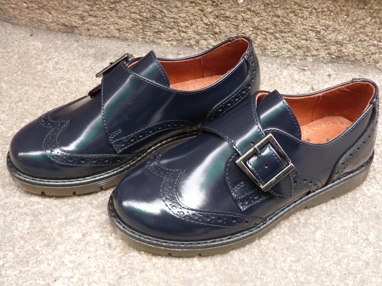 zapatos de piel azul marino niñas