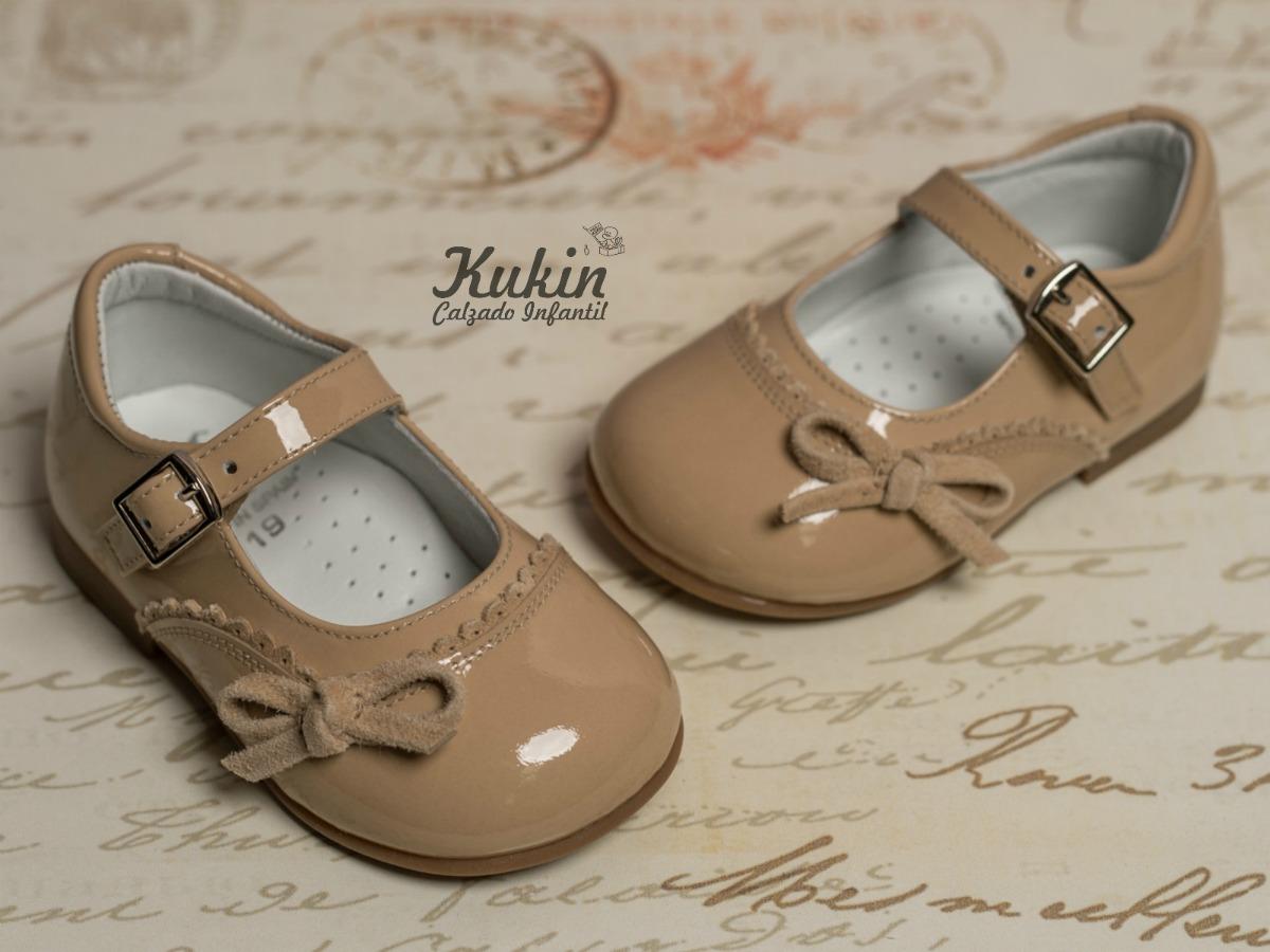 zapatos niña charol camel