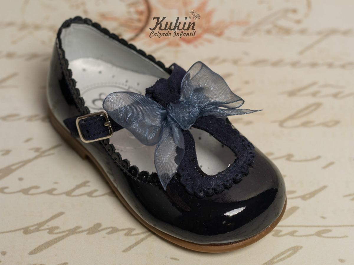 zapatos niña charol azul marino