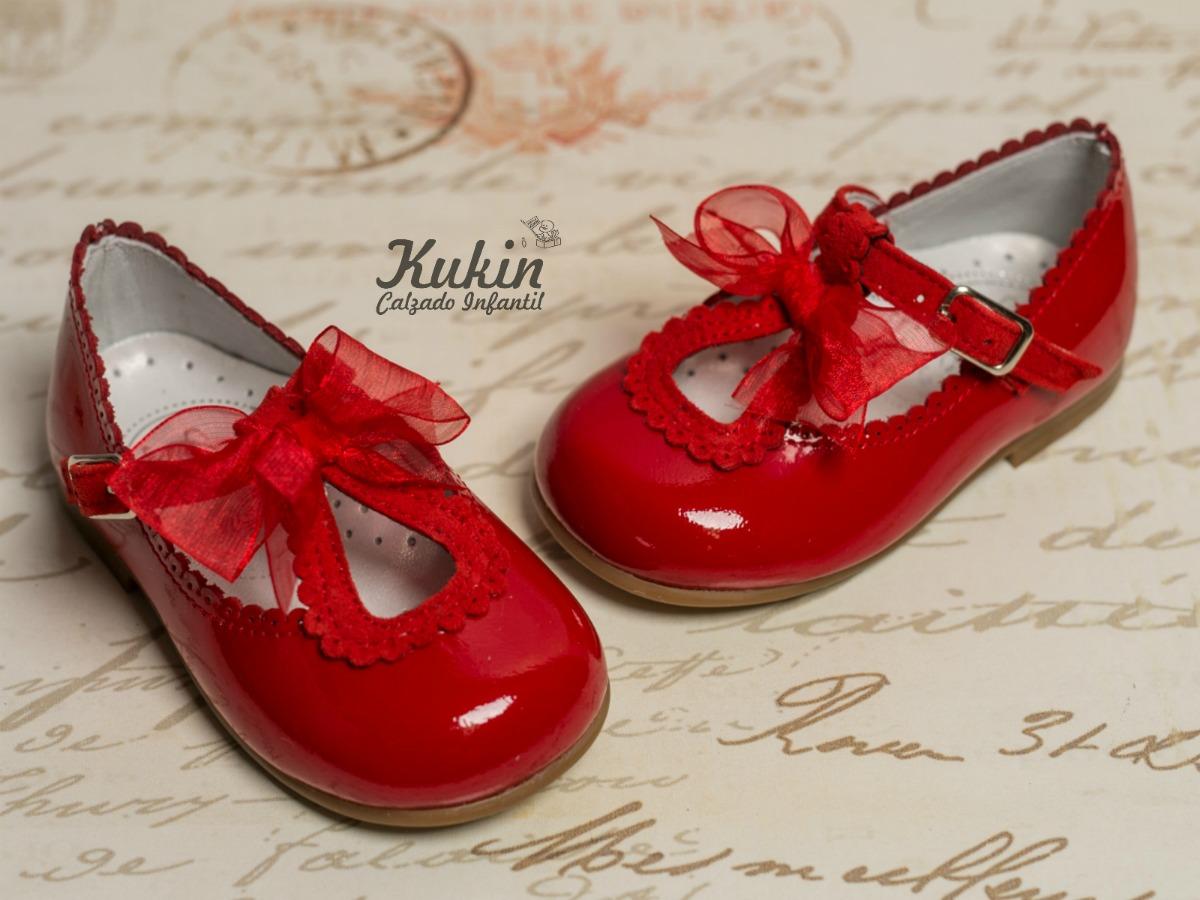 zapatos niña charol rojo